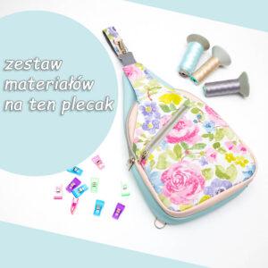 """Pastelowe kwiaty """"Cezary""""- materiałowy pakiet startowy do samodzielnego uszycia plecaka"""