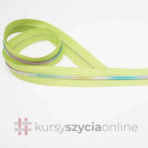 Taśma suwakowa tęczowa na zielonym – spiralna żyłkowa, szerokość 5 mm