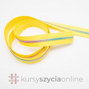 Taśma suwakowa tęczowa na żółtym – spiralna żyłkowa, szerokość 5 mm