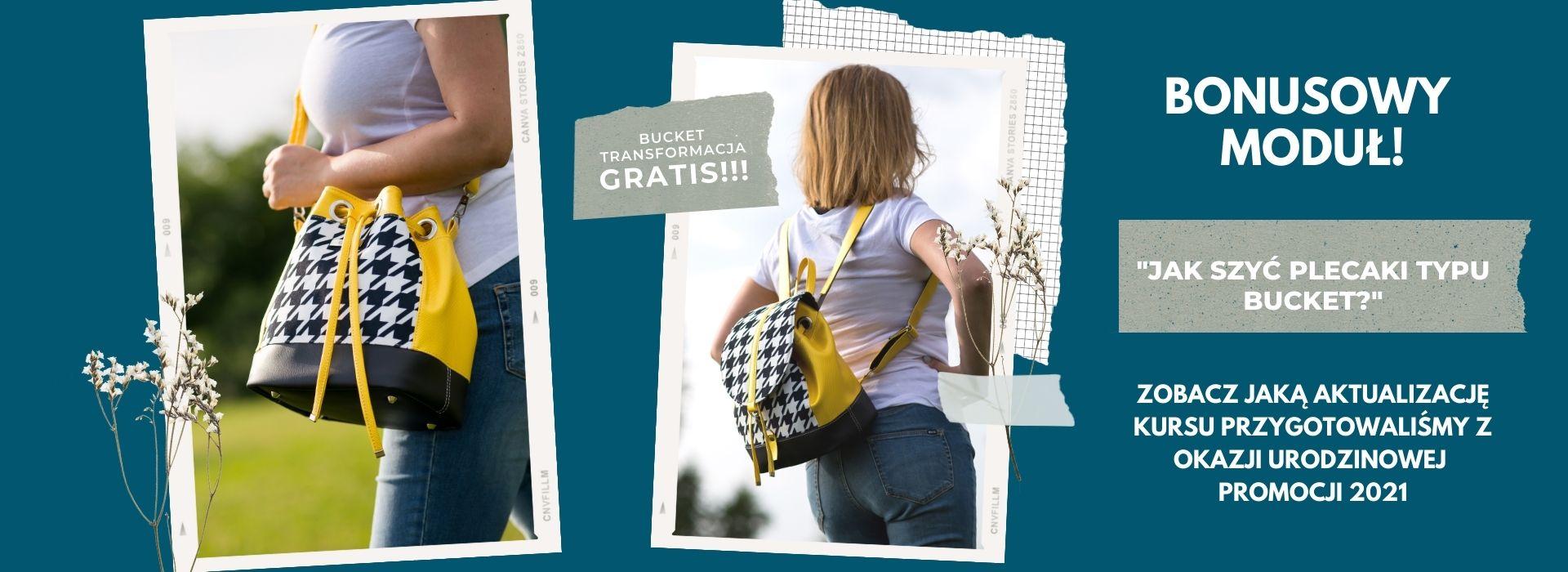Read more about the article Bucket TRANSFORMACJA! Co nowego w kursie szycia Bucketów? Aktualizacja: jak przerobić torebkę BUCKET BAG na plecak BUCKET BACKPACK.