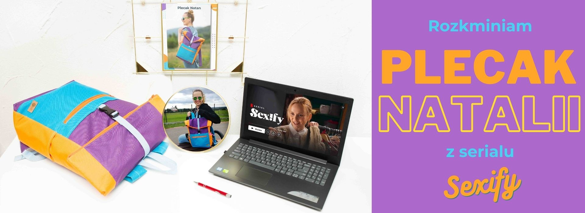 Read more about the article Torby inspirowane #4 Plecak Natalii z serialu Sexify. Duży plecak kurierski z kieszenią na laptopa, w stylu lat 90-tych.