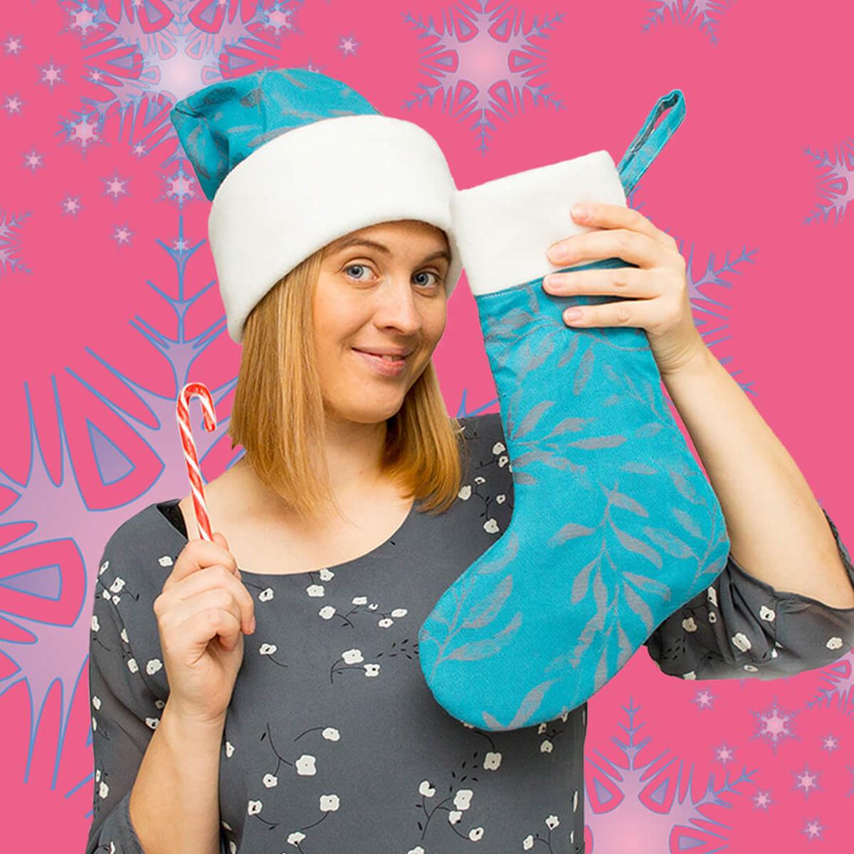 jak uszyć świąteczną skarpetę na prezenty od Mikołaja